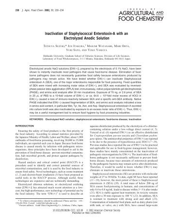 Inactivation of Staphylococcal Enterotoxin-A with an Electrolyzed ...