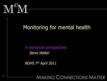 Mental health and social exclusion - BOHS