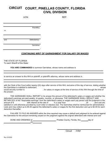 Continuing Writ of Garnishment Order - Clerk of the Circuit Court