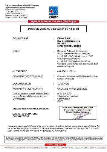 PROCES VERBAL D'ESSAI N° SB 12 00 99 - France Air
