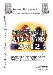 Règlement du Championnat de France Amateur juniors 2012