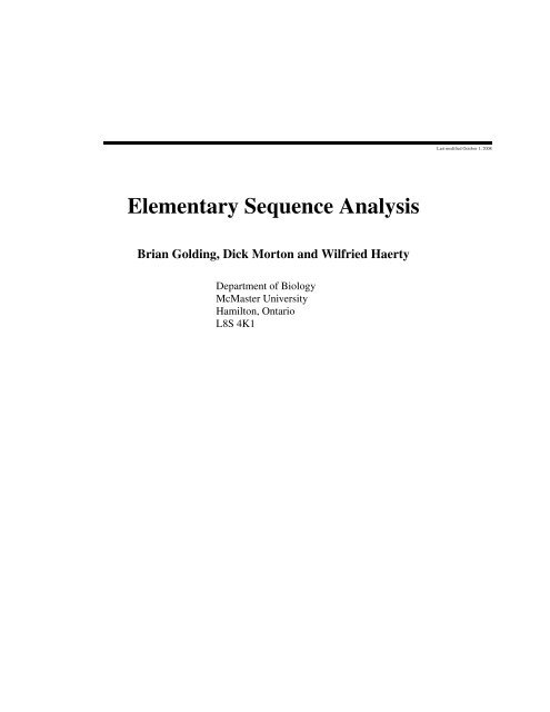 Elementary Sequence Analysis - Brian Golding - McMaster University