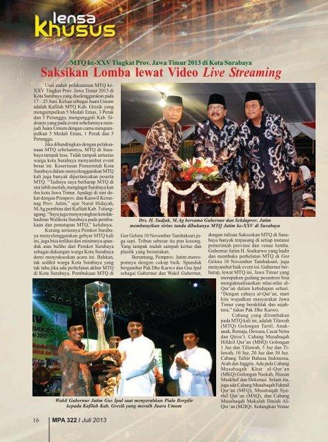 MTQ ke-XXV Tingkat Prov. Jawa Timur 2013 di ... - Kemenag Jatim