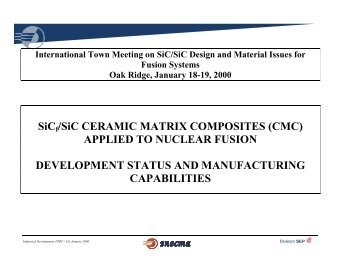 SiCf/SiC CERAMIC MATRIX COMPOSITES (CMC) APPLIED TO ...