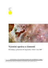 Zpráva o činnosti za rok 2007 - Hvězdárna a planetárium Brno
