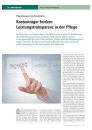 Kostenträger fordern Leistungstransparenz in der Pflege - Moritz Klinik