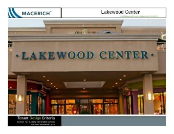 Lakewood Center General Information Criteria Manual - Macerich
