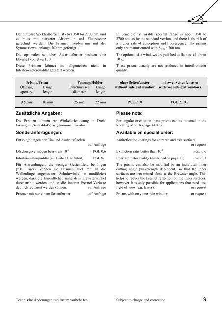 Katalogauszug zu Polarisatoren - Bernhard Halle