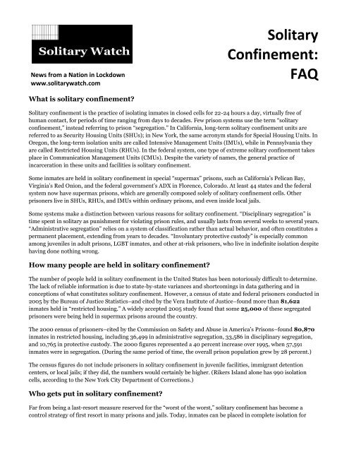 Solitary Confinement FAQ (short version) - Solitary Watch