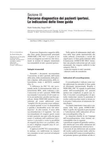 Sezione III Percorso diagnostico dei pazienti ipertesi. Le indicazioni ...