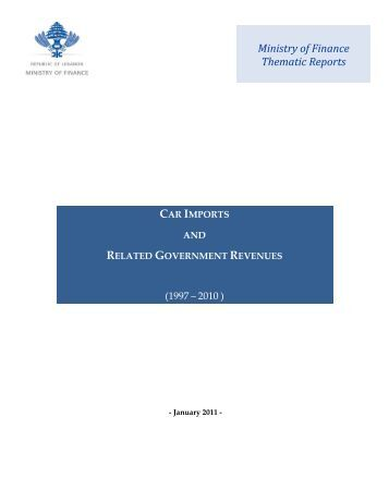 Car Imports and Related Government Revenues - Ministry of Finance