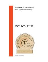 COE Policy File - College of Education - San Diego State University