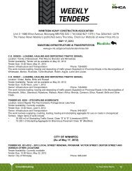 WEEKLY TENDERS - Manitoba Heavy Construction Association