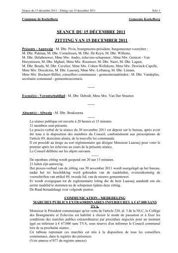 seance du 15 décembre 2011 zitting van 15 december ... - Koekelberg