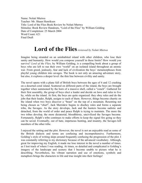 Essay on lord of the flies