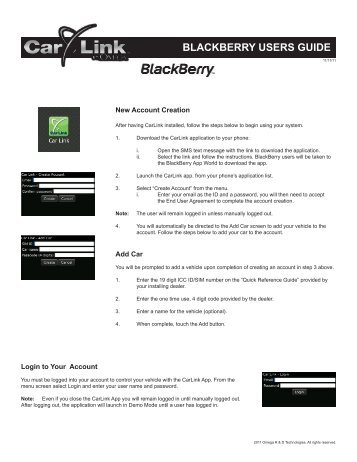BLACKBERRY USERS GUIDE - car alarm