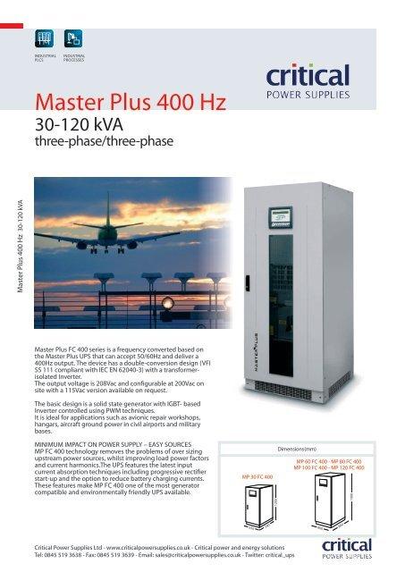 Master Plus 400 Hz - Critical Power Supplies