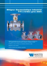 Mitigeur thermostatique industriel T70 à brides ... - Watts Industries