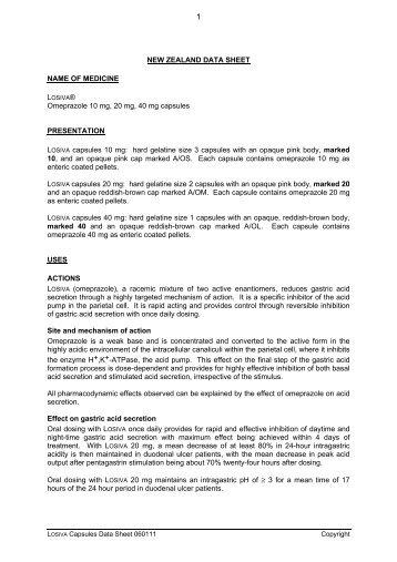 NEW ZEALAND DATA SHEET NAME OF MEDICINE Omeprazole 10 ...