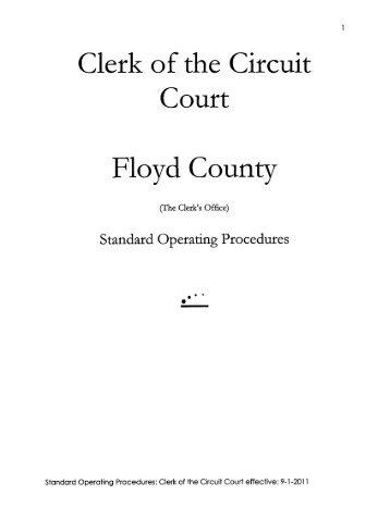 Clerk's Office Standard Operating Procedures - Floyd County Indiana