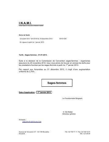 Tarifs des Accoucheuses – A partir du 01/01/2013 - Inami