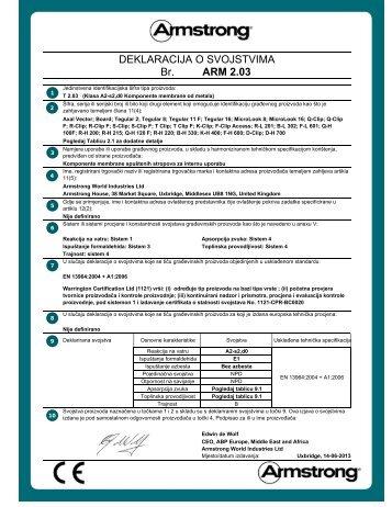 Br. DEKLARACIJA O SVOJSTVIMA ARM 2.03 - Armstrong