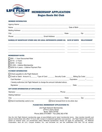 MEMBERSHIP APPLICATION - Bogus Basin Ski Club