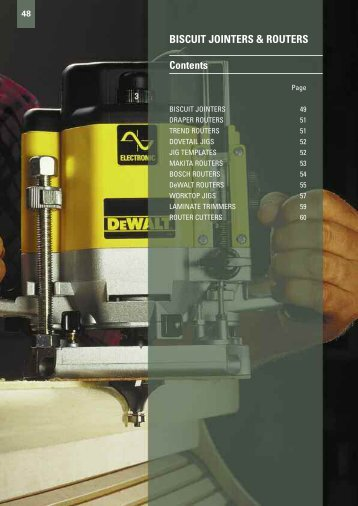 BISCUIT JOINTERS & ROUTERS Contents - Gibb Tools