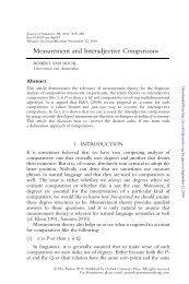 Measurement and Interadjective Comparisons - Journal of Semantics