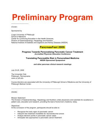 PancreasFest 2009 - Department of Medicine - University of Pittsburgh