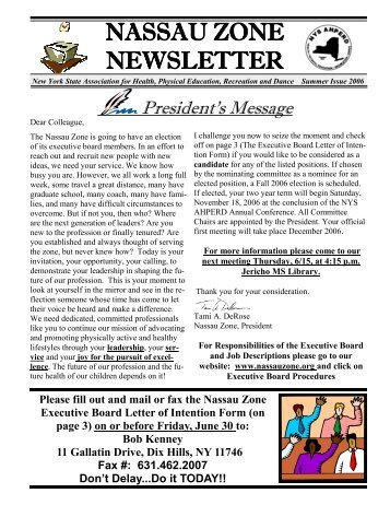 Nassau Zone Summer 2006 Newsletter: PDF - nys ahperd