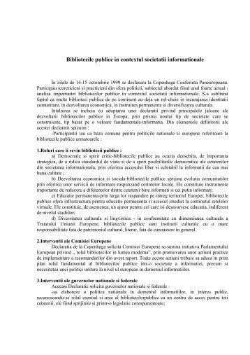 Bibliotecile publice in contextul societatii informationale/ Octavian ...