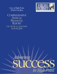 2006 Comprehensive Annual Financial Report - City of High Point