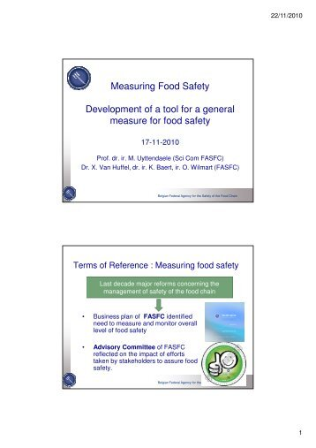 Food Safety Barometer developed by the Scientific ... - Favv