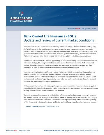 Bank Owned Life Insurance (BOLI) - Ambassador Financial Group