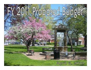 Budget Presentation - Town of Windsor