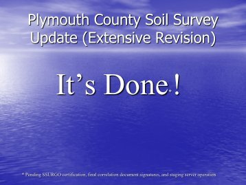 PLYMOUTH COUNTY SOIL SURVEY UPDDATE - NeSoil