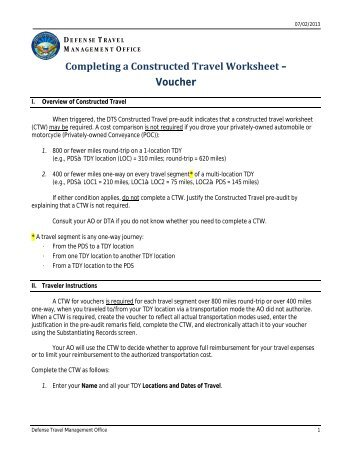 army dts constructed travel worksheet