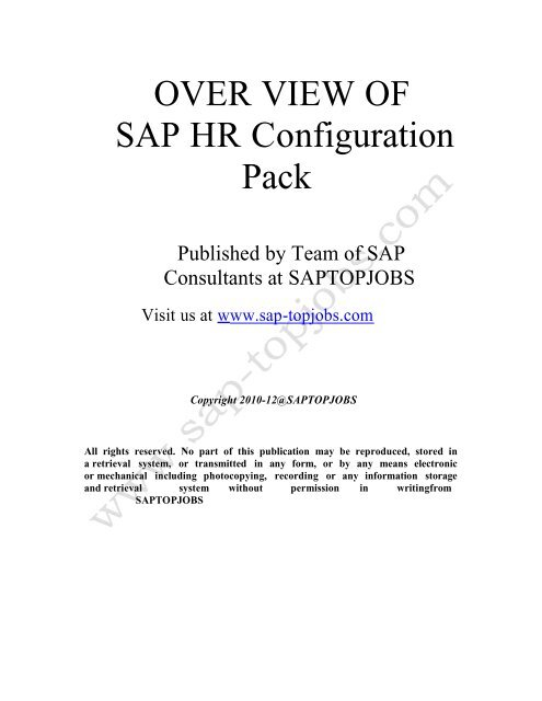 HR Configuration Overview - SAP