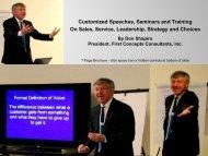 Customized Speeches, Seminars and Training On Sales, Service ...