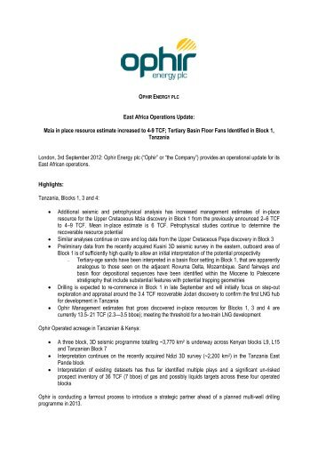 to download a PDF version of this announcement - Ophir Energy