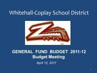 Budget Reductions - the Whitehall-Coplay School District!