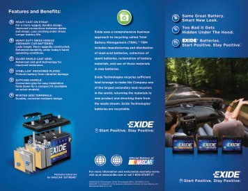 Features and Benefits: - Exide Technologies