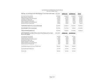 10-11 Allied Health Tuition as of January 1 2011