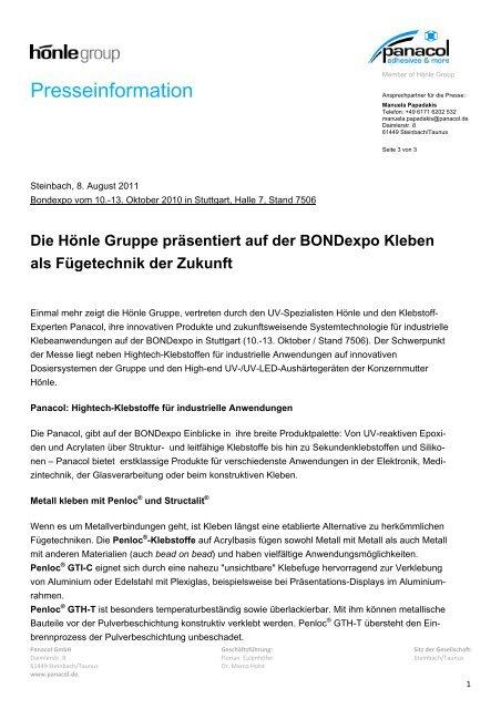 Presseinformation zur Bondexpo 2011 - Dr. Hönle AG