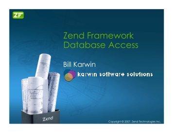 Zend Framework Database Access