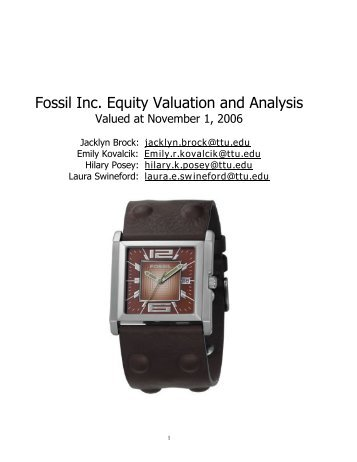 Fossil Inc. Equity Valuation and Analysis - Mark E. Moore