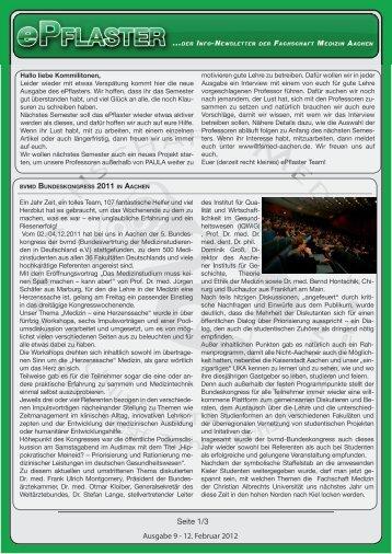 Ausgabe 9 - 12. Februar 2012 Seite 1/3 - Fachschaft Medizin der ...