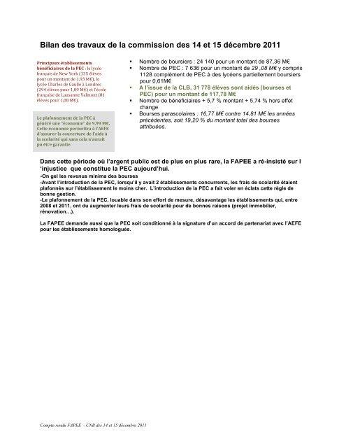CNB des 14 et 15 décembre - Fapee.com