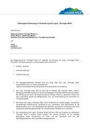 """Nutzungsvereinbarung zur Verwendung des Logos """"Thüringer Wald"""""""